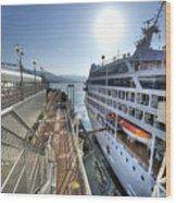 Alaskan Cruise Ship Berthed In Vancouver Wood Print