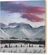 Alaskan Range At Sunset Wood Print