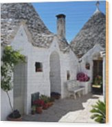 Alberobello Courtyard With Trulli Wood Print