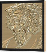 Albert Sticks Out His Tongue 24 Kt Gold 4  Wood Print