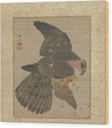 Album Of Hawks And Calligraphy Wood Print