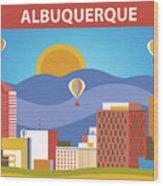 Albuquerque New Mexico Horizontal Skyline Wood Print