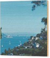 Alcatraz And San Francisco - Oakland Bay Bridge  Wood Print