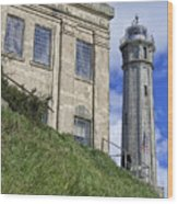 Alcatraz Cell House And Lighthouse Wood Print