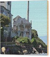 Alcatraz Island - Palette Knife Wood Print