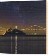 Alcatraz Island Under The Starry Night Sky Wood Print