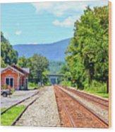 Alderson Train Depot And Tracks Alderson West Virginia Wood Print