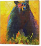 Alert - Black Bear Wood Print