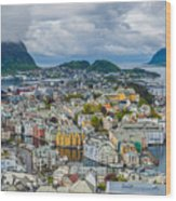 Alesund Norway Cityscape Wood Print