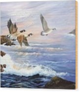 Aleutian Geese With Lighthouse Wood Print