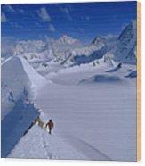 Alex Lowe On Mount Bearskin 2850 M Wood Print by Gordon Wiltsie