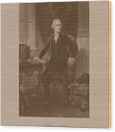 Alexander Hamilton Sitting At His Desk Wood Print by War Is Hell Store