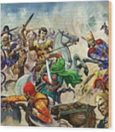 Alexander The Great At The Battle Of Issus  Wood Print