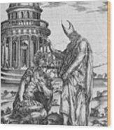 Alexander The Great Kneeling Before The High Priest Of Ammon Wood Print
