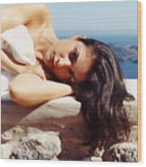 Alexis In Santorini Iv Wood Print
