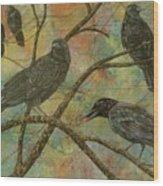 Alex's Crows Wood Print
