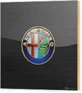 Alfa Romeo - 3 D Badge on Black Wood Print