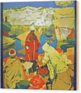Algeria, Traditional Market, Tourist Advertising Poster Wood Print