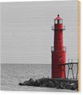 Algoma Lighthouse Bwc Wood Print by Mark J Seefeldt