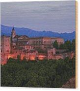 Alhambra Granada Dusk Wood Print