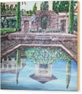 Alhambra Spain Reflections Wood Print