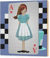 Alice 3d Flying Cards Wood Print