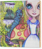 Alice And Absolem Wood Print