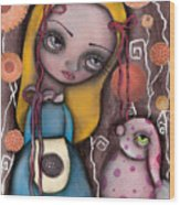Alice And The Pink Bunny Wood Print