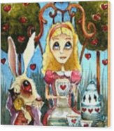 Alice And The Rabbit Having Tea... Wood Print by Lucia Stewart