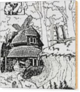 Alice At The March Hare's House Wood Print by Turtle Caps