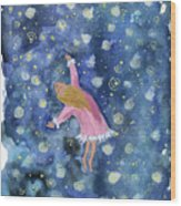 Alice Flying Inthe Night Sky Wood Print