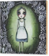 Alice In The Deadly Garden Wood Print
