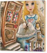 Alice In Wonderland 2 Wood Print by Lucia Stewart