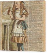 Alice In Wonderland Drink Me Vintage Dictionary Art Illustration Wood Print
