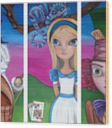 Alice In Wonderland Inspired Triptych Wood Print