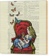 Alice In Wonderland Playing With Cute Cat And Butterflies Wood Print