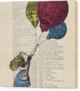 Alice In Wonderland With Big Colorful Balloons Wood Print
