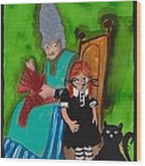 Alice Pinched The Cat Wood Print