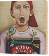 Alien Cookies Wood Print