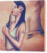 Alien Elf Punk Girl Licking The Gun Barrel Wood Print