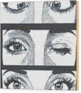 Alien Eyes Wood Print