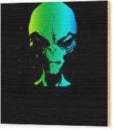 Alien Grey Head Blue Green Wood Print