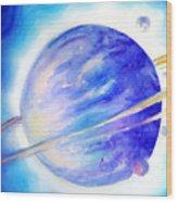 Alien Planet. Blue Light Of Hope Wood Print