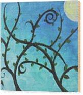 Alien Planet Blue Wood Print