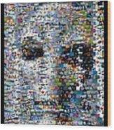 Alien Ufo Mosaic Wood Print