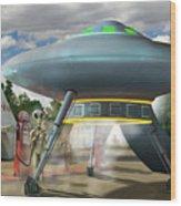 Alien Vacation - Gasoline Stop Wood Print