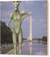 Alien Vacation - Washington D C Wood Print