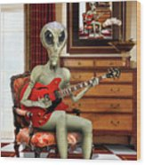 Alien Vacation - We Roll With Jazz Wood Print