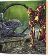 Alien Vs Iron Man Wood Print by Pete Tapang