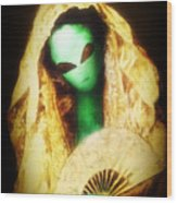 Alien Wearing Lace Mantilla Wood Print